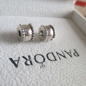 lot of 2 set Pandora Beveled Clip Charms  790267